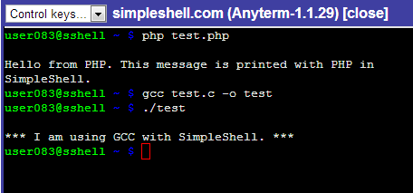 Free online linux shell - SimpleShell - Programming with SimpleShell