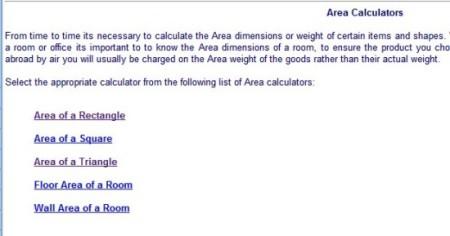 online calculators-online calculators-area calculators index