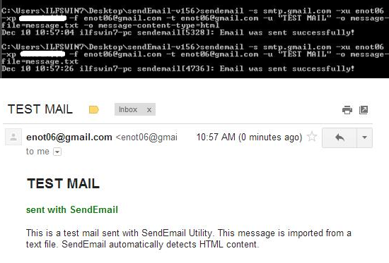 Free Command Line Email Utility - SendEmail - Importing message from a file