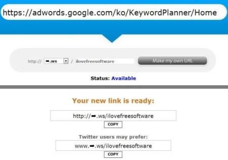tiny arrows-custom short URL-create URL