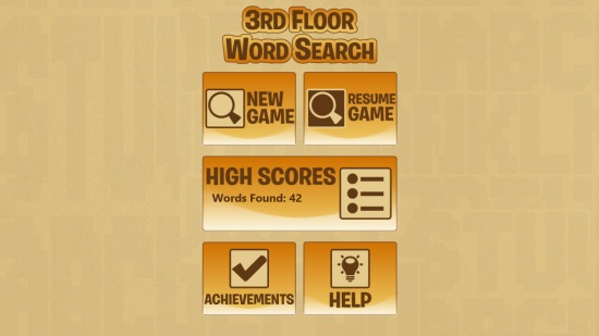 3rd Floor Word Search- Main screen