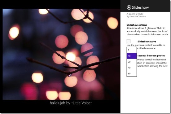 A glance at Flickr - slideshow settings