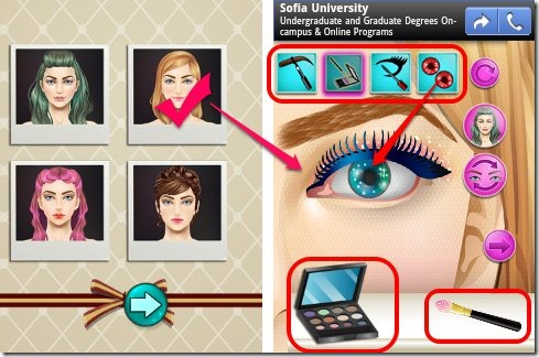 Android makeup game for girls