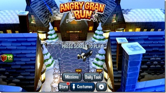 Angry Gran Run - main screen