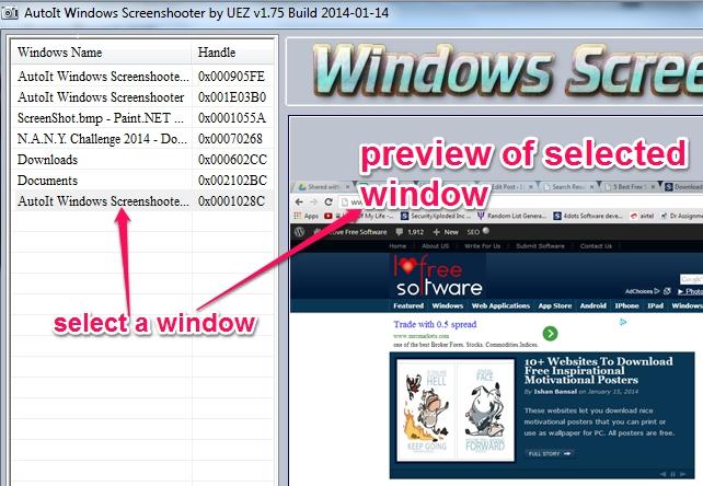 AutoIt Windows Screenshooter- capture an opened window