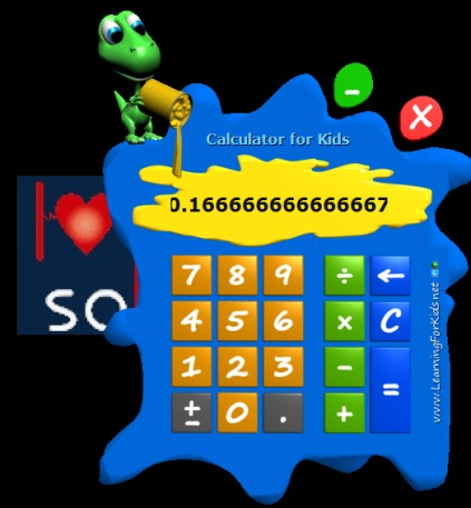 Calculator for Kids- use left mouse button to press keys