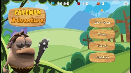 Caveman Adventure- Main screen
