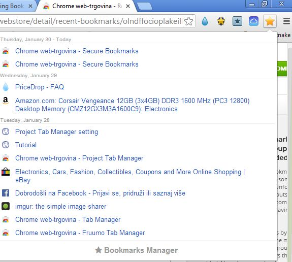 Chrome bookmark extensions bookmarks recent
