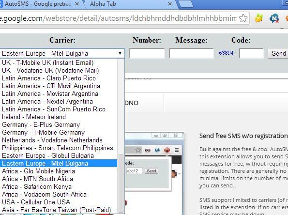 Chrome send sms extenions autosms