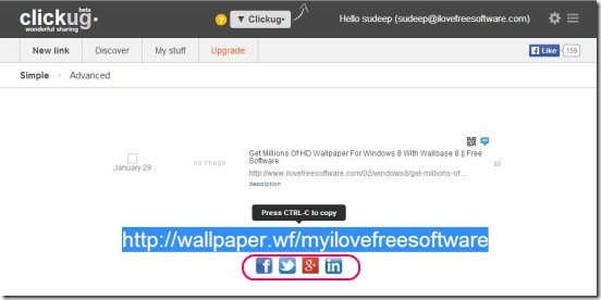 Clickug - sharing customized URL