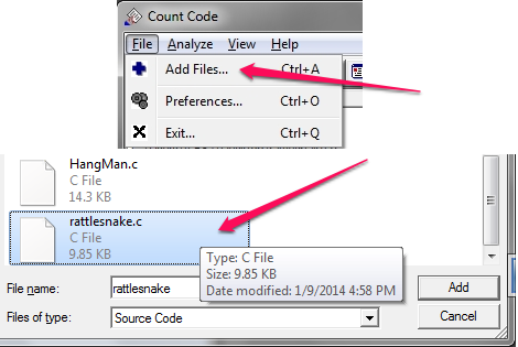 Count Lines of Code - Count Code - Choosing a file