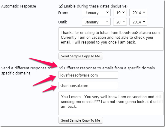Custom Vacation Response Yahoo mails