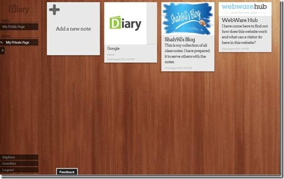 Diary.com-online diary-interface
