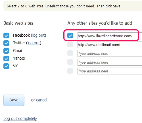 Favepad- add websites