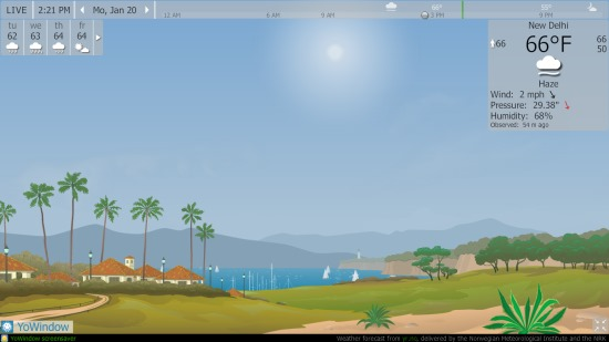 Favepad- live weather information on homepage
