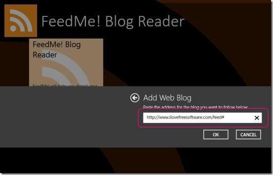 FeedMe! Blog Reader - adding feeds source