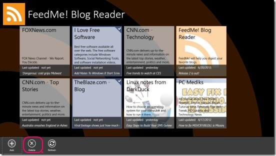 FeedMe! Blog Reader - deleting feeds source