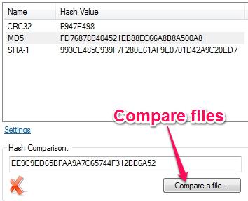 File Checksum Tool For Windows - HashTab - Compare Files