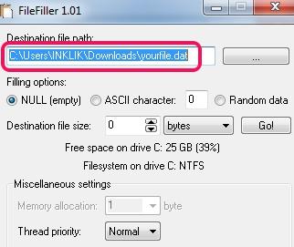 FileFiller- select dummy file destination location