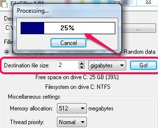 FileFiller- select file size