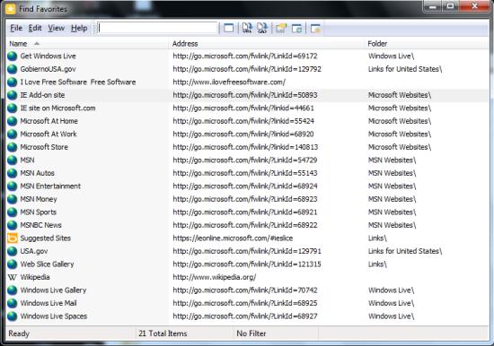 Find Favorites for Internet Explorer - Find Favorites - Interface