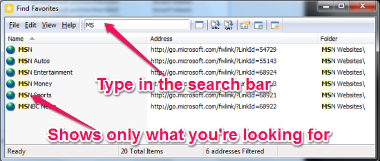 Find Favorites for Internet Explorer - Find Favorites - Searching for favorites