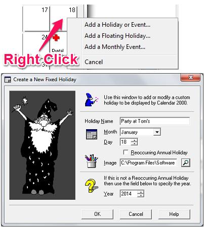 Free Calendar Application for Windows - Calendar 2000 - Adding an Event