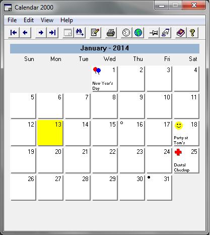 Free Calendar Application for Windows - Calendar 2000 - Interface
