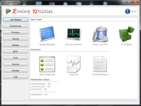 Free System Diagnotic Tool For Diagnostics - Eusing Utilities - Interface