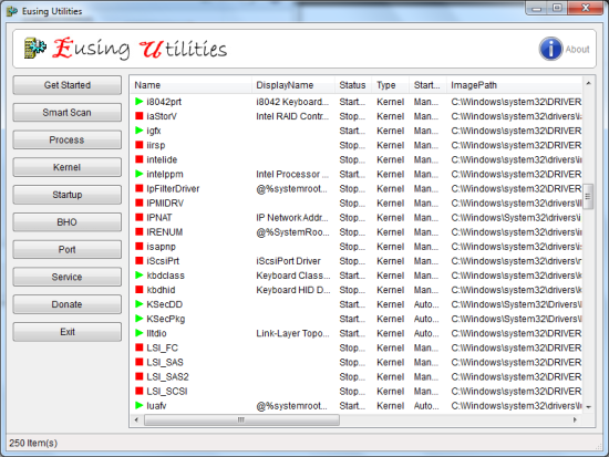 Free System Diagnotic Tool For Diagnostics - Eusing Utilities - Service Manager
