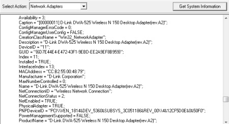 Free System Information Utility For Windows - FreeSysInfo - Network Adapters