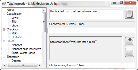 Free Text Manipulation Tool - Text Inspection & Manipulation - Interface