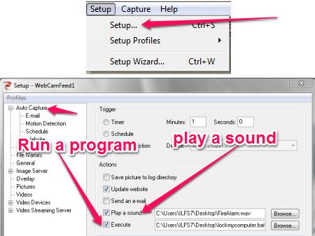 Free Webcam Surveillance Software - TinCam - Setting a Sound, Executing a program