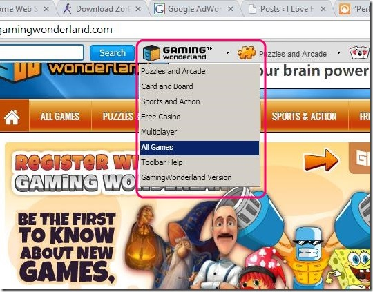GamingWonderland - search game according to game type