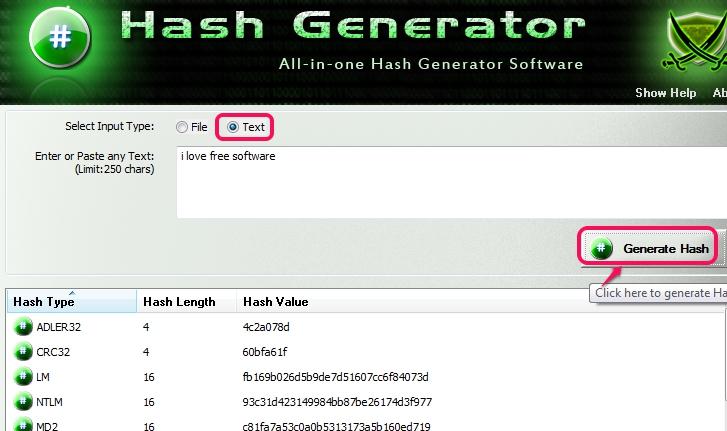 Hash Generator- generate custom text hash
