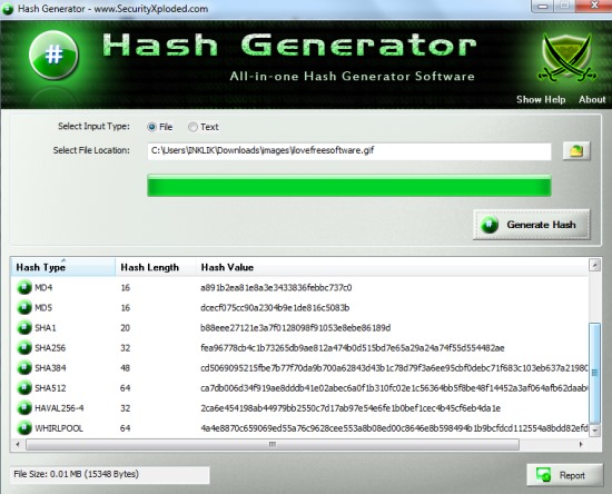 Hash Generator- generate hash values