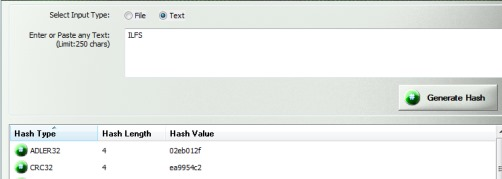 Hash Generator- hash values of a custom text