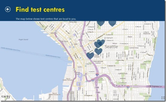 Heart Age - test centers mapped in Bing maps