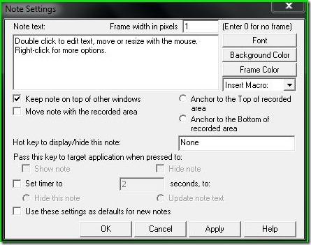 HyperCam Note settings