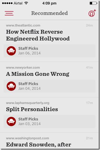 Reader App Interface