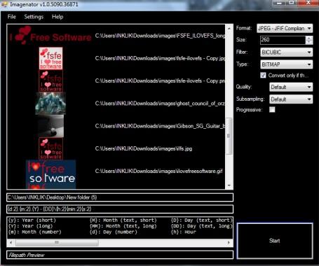 Imagenator- interface