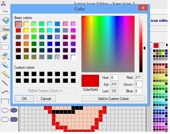 Junior Icon Editor - color palate