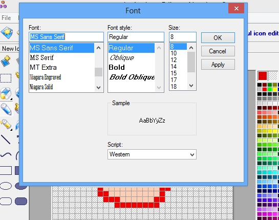 Junior Icon Editor - fonts