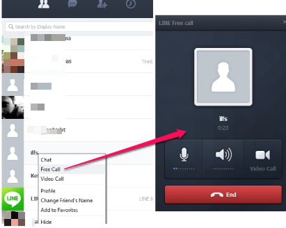 LINE PC application to make calls from PC to phones