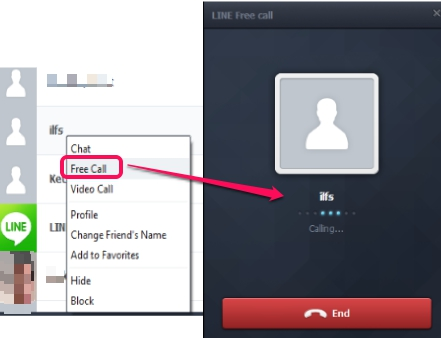 LINE application for PC- make free call