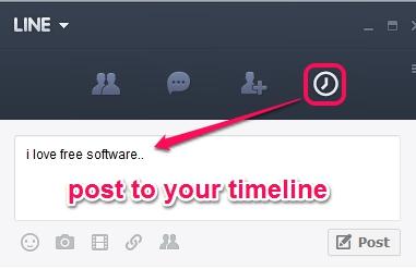 LINE application for PC- timeline option