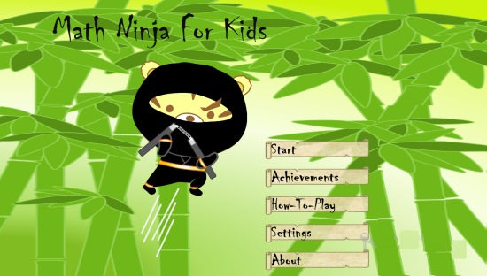Math Ninja For Kids- Main Menu