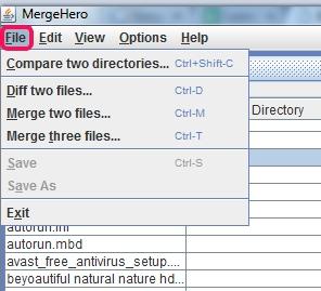 MergeHero- File menu