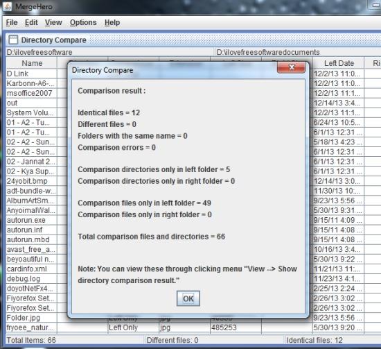 MergeHero- directories comparison results
