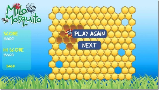 Milo the Mosquito - game result and high score
